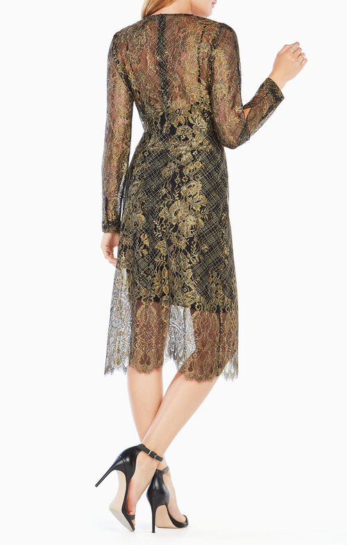 Celestina Sheer Metallic Lace Dress