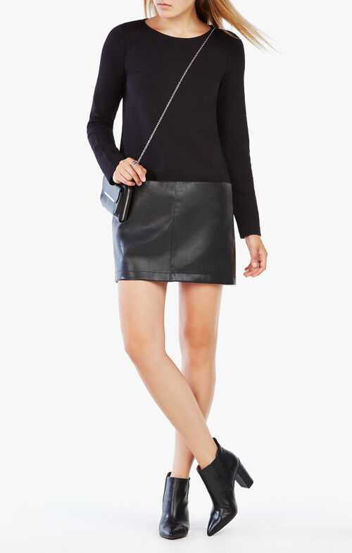 Jaylinn Faux-Leather-Blocked Dress