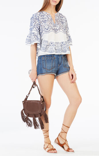 Imanne Embroidered Eyelet Ruffle Top