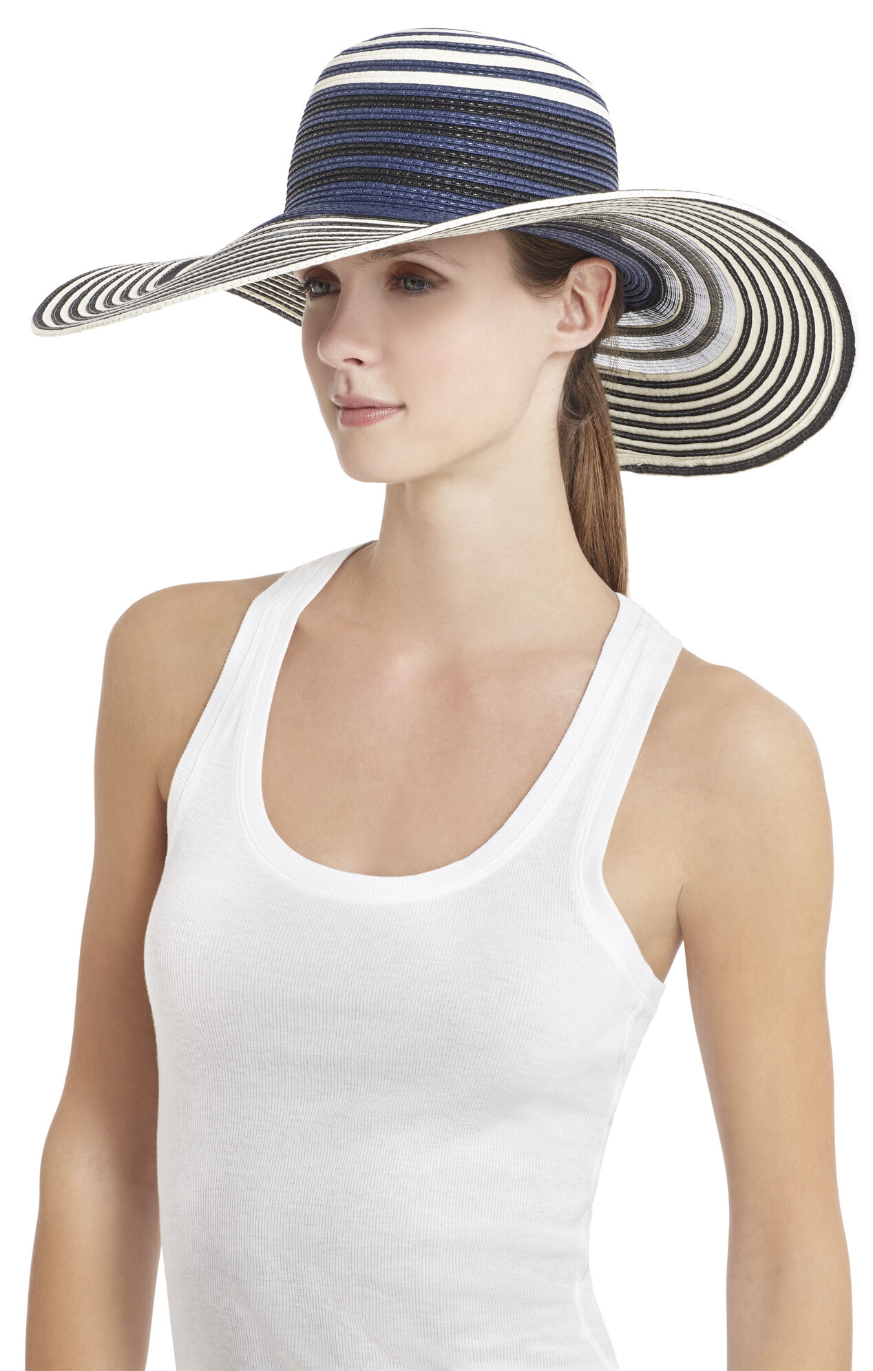 Sheerly Striped Floppy Hat