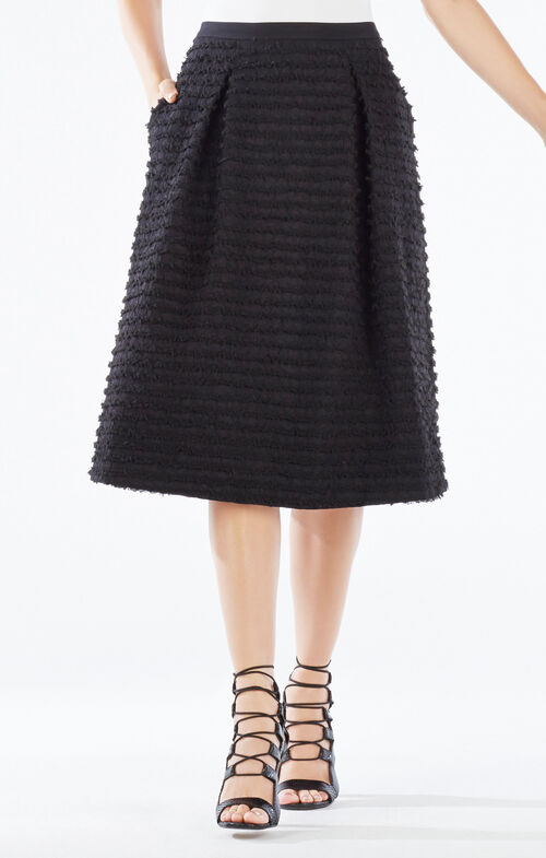 Reggie Striped Fringe A-Line Skirt