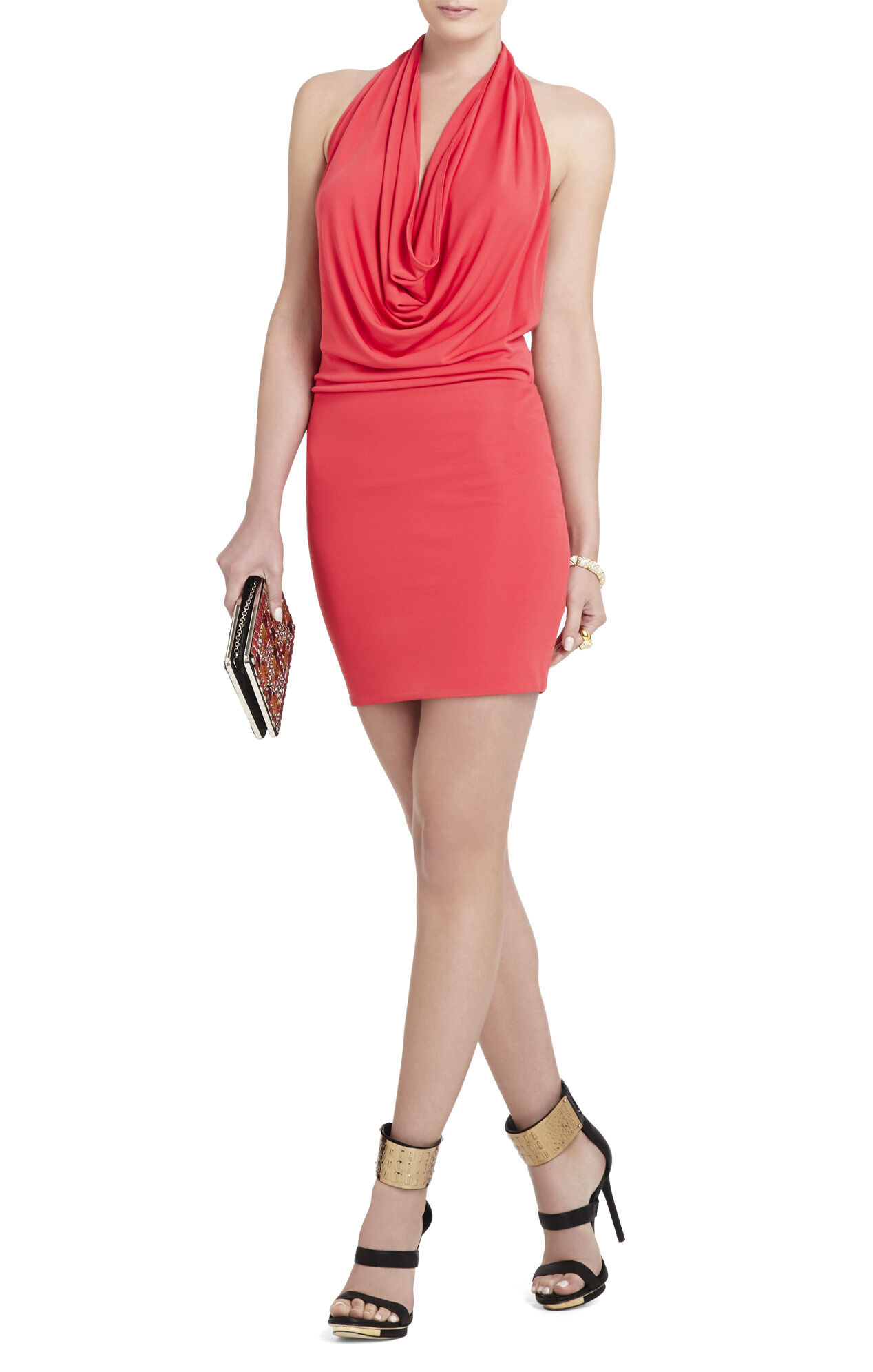Veda Low-Back Cowl-Neck Dress