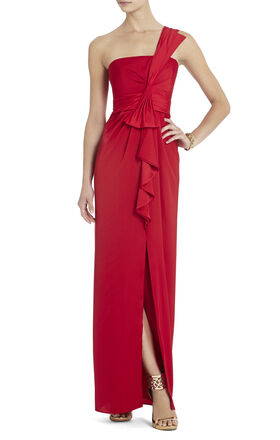 Barbara One-Shoulder Satin Evening Gown