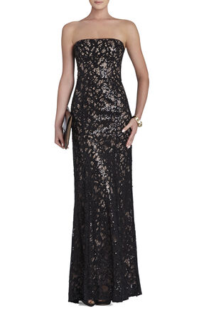 Natasha Applique Chiffon Sequined Cutout Dress
