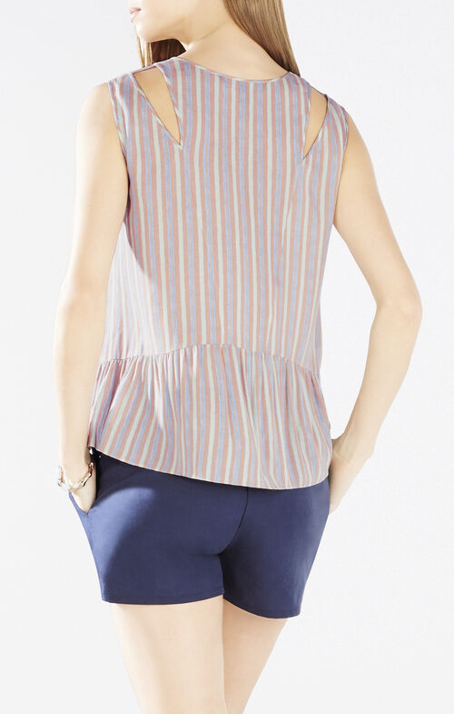 Alexys Cutout Striped Peplum Top