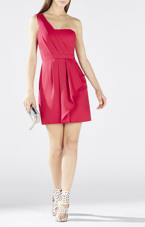 Vanessa One-Shoulder Cascade Ruffle Dress