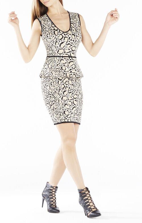 Izabelle Ocelot Jacquard Peplum Dress