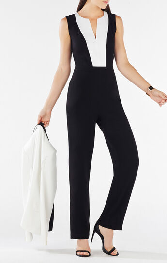 Genna Color-Blocked Open-Back Jumpsuit