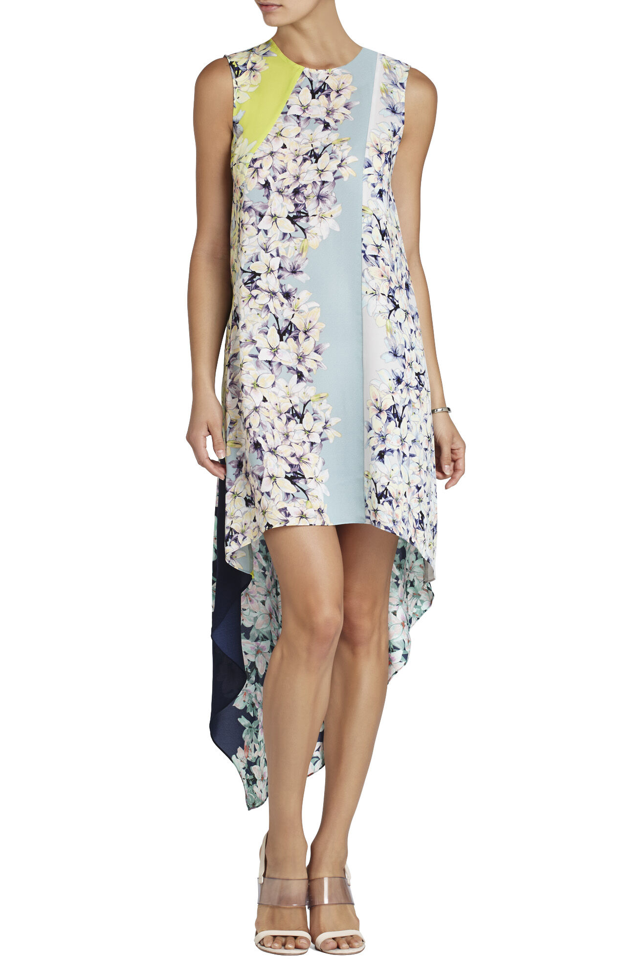Helene Sleeveless Print-Blocked Dress
