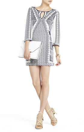 Megan Mixed-Jacquard Tunic Dress