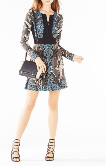 Edina Zip-Front Fluttering Doves Print Dress