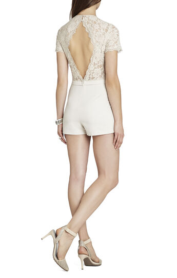 Mandana Blocked-Lace Short-Sleeve Romper
