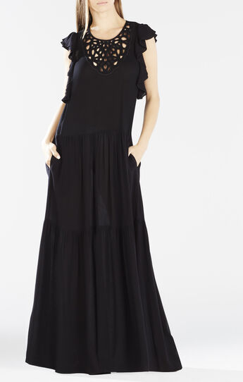 Lyndsy Flutter Sleeve Cutout Embroidered Maxi Dress