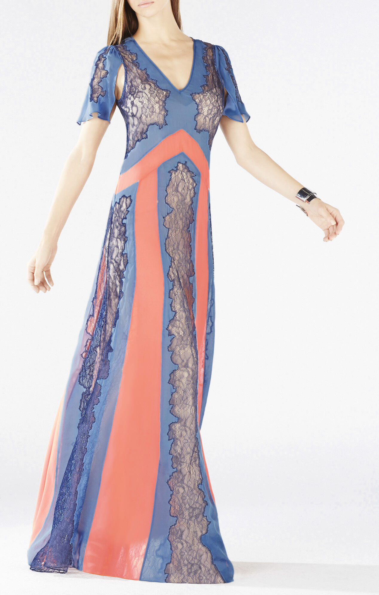 Lorelie Color-Blocked Lace Dress
