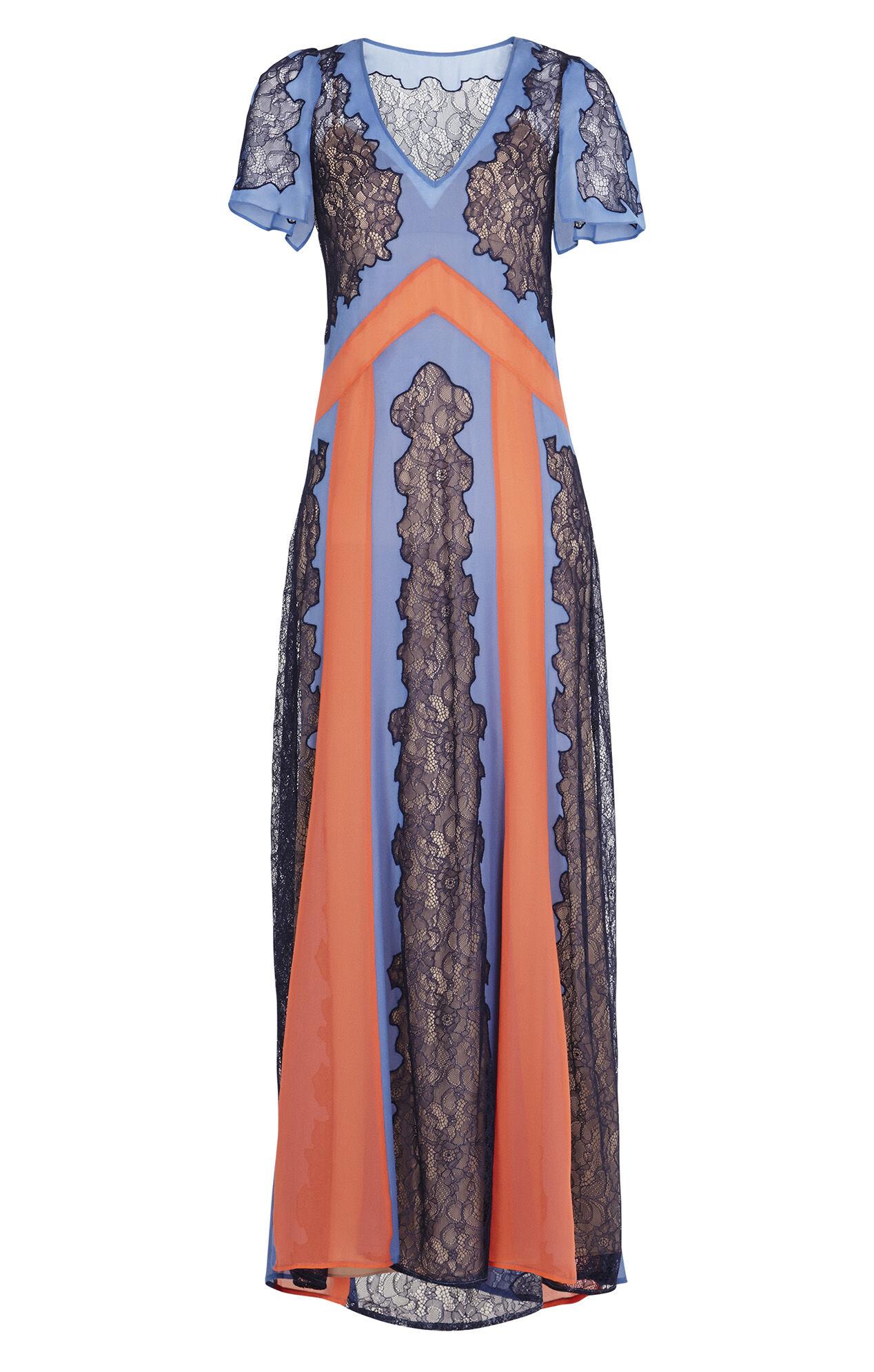 Lorelie Color-Blocked Lace Dress