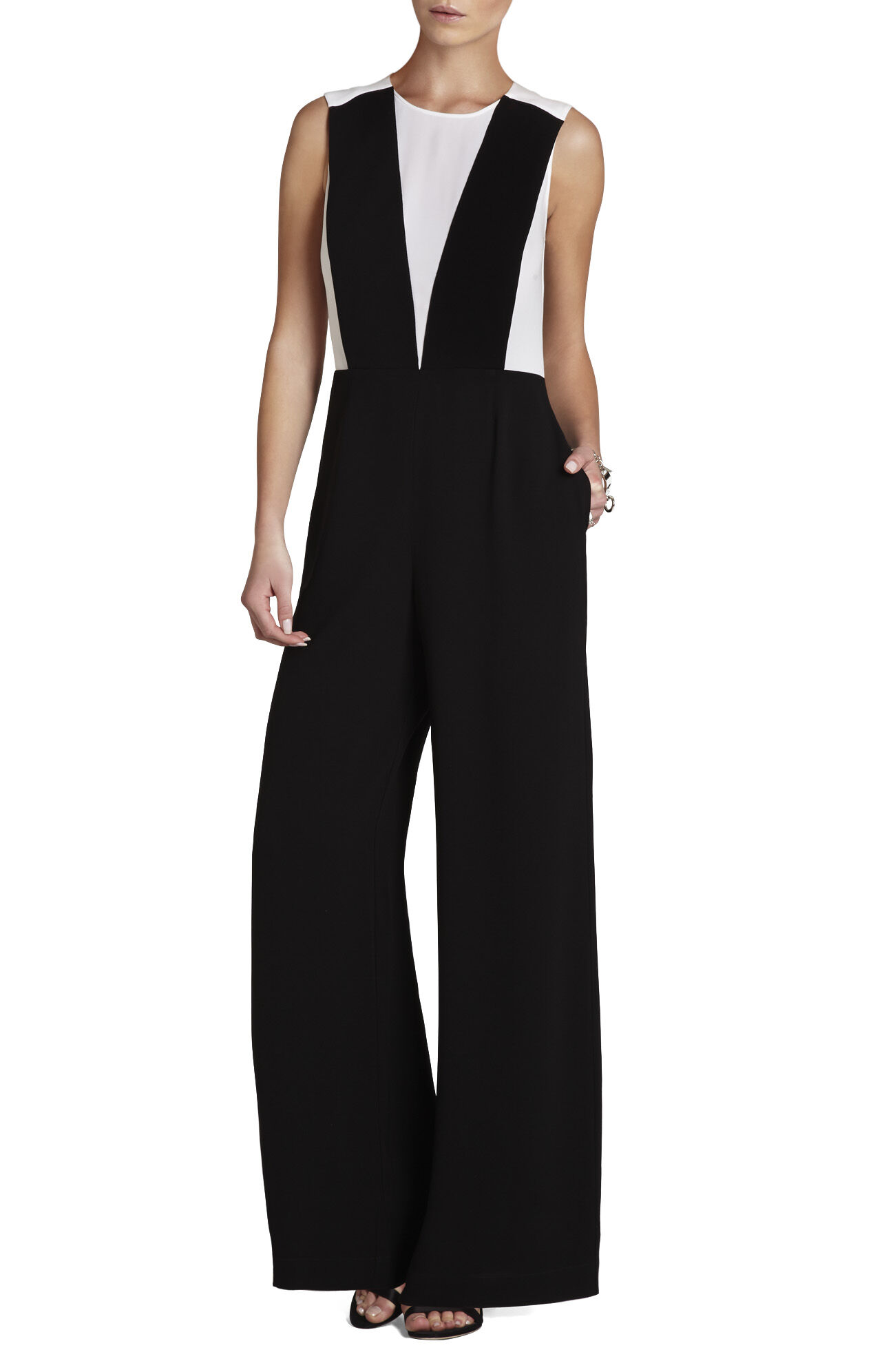 Galiena Color-Blocked Sleeveless Jumpsuit