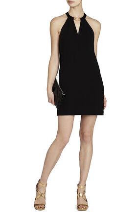Kiley Tuxedo-Stripe Halter Dress