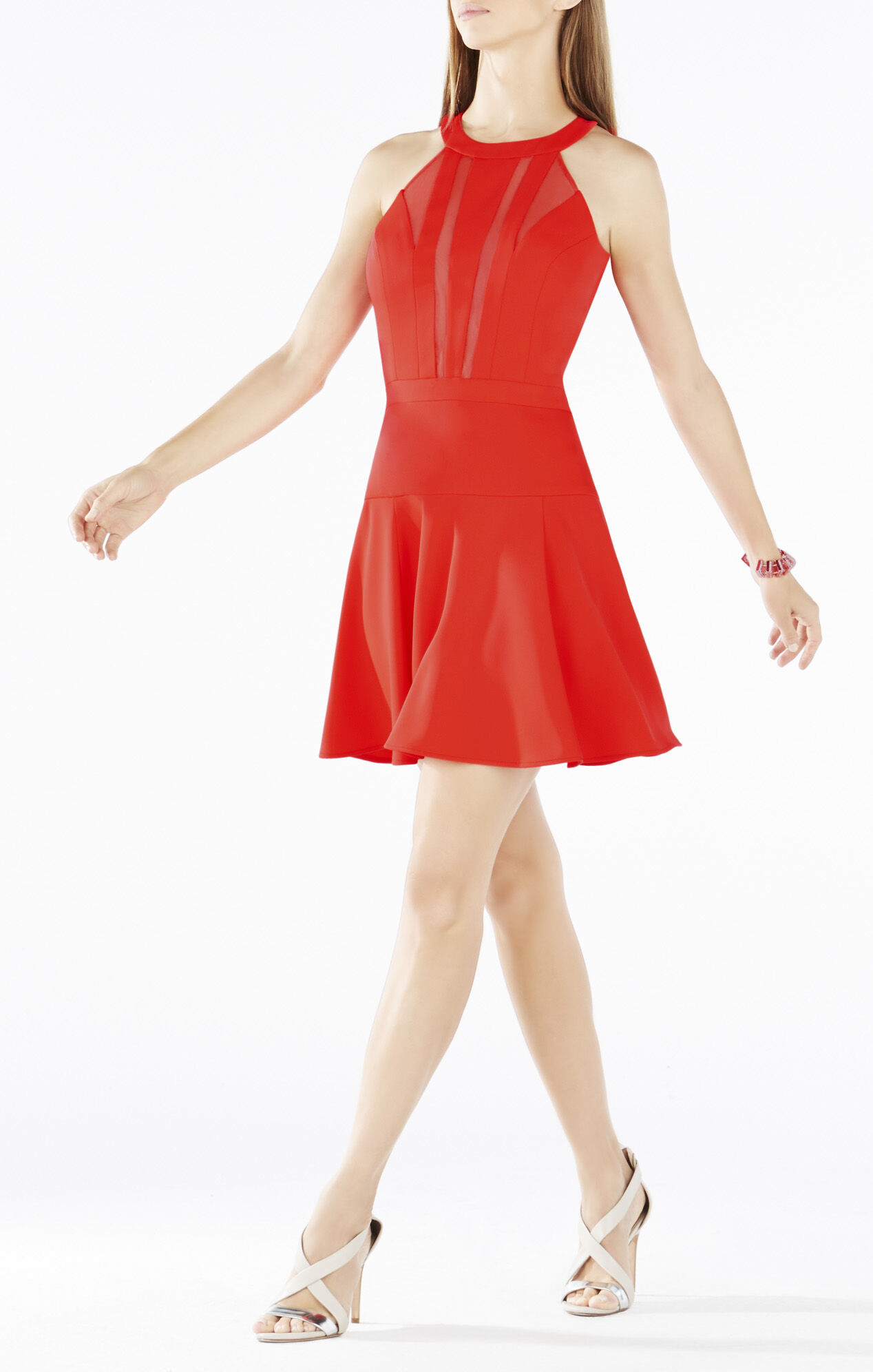 Tatyanna Mesh-Blocked Halter Dress