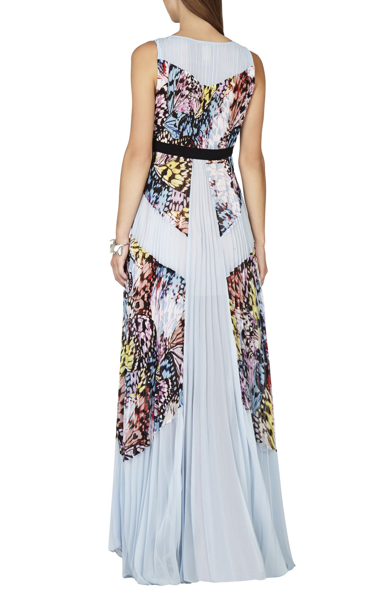Kayda Halter-Neck Pleated Print-Blocked Gown
