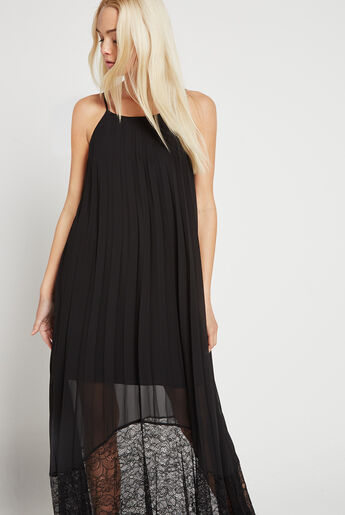 Pleated Lace-Trimmed Midi Dress