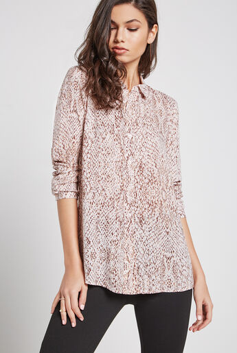 Snake Print Button-Up Shirt