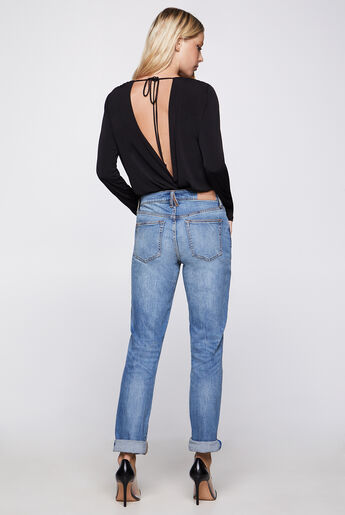 Long-Sleeve Low V-Neck Bodysuit