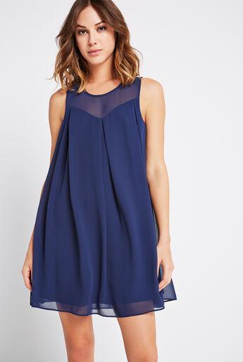 Sheer Yoke A-Line Dress
