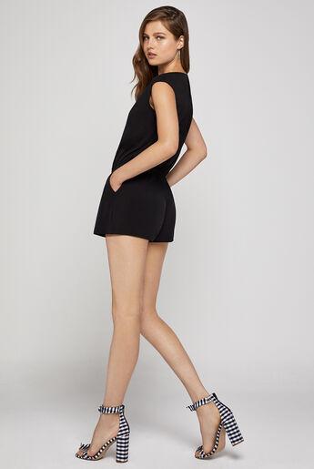 Deep V-Neck Slit-Back Shorts Romper