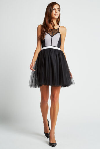 Color-Blocked Tulle Dress