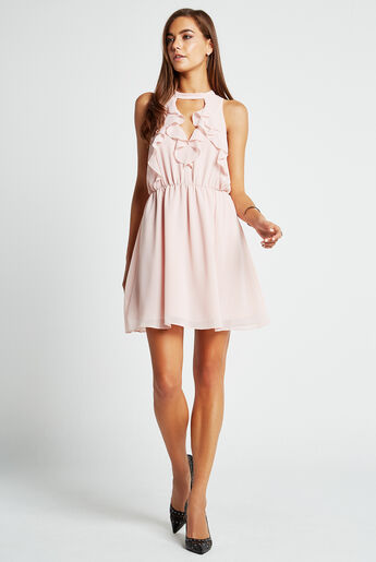 Ruffled Halter Flare Dress