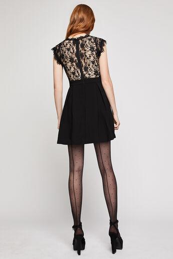 Lace-Back Pleated Dress