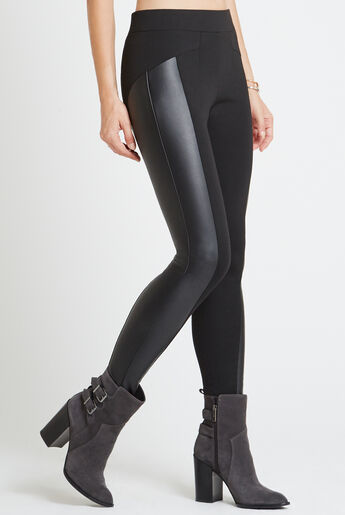 Seamed Faux-Leather Panel Legging