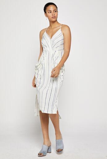 Striped Faux-Wrap Midi Dress
