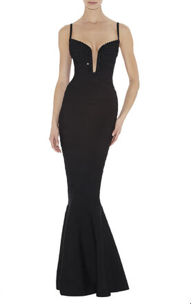 Priscilla Beaded Wire-Neckline Dress