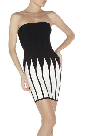 Noelle Jagged Colorblocked Bandage Dress