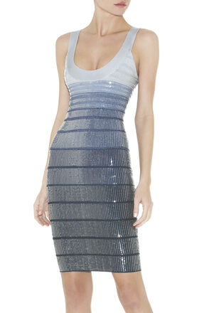 EBBA SEQUINED OMBRE BANDAGE DRESS