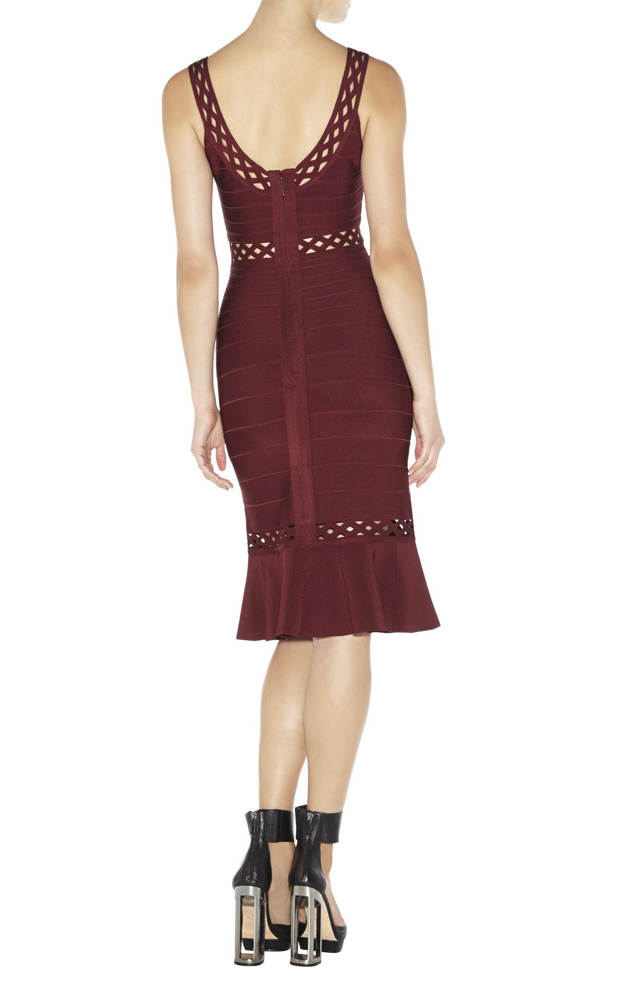 Nora Geometric-Eyelet Bandage Dress