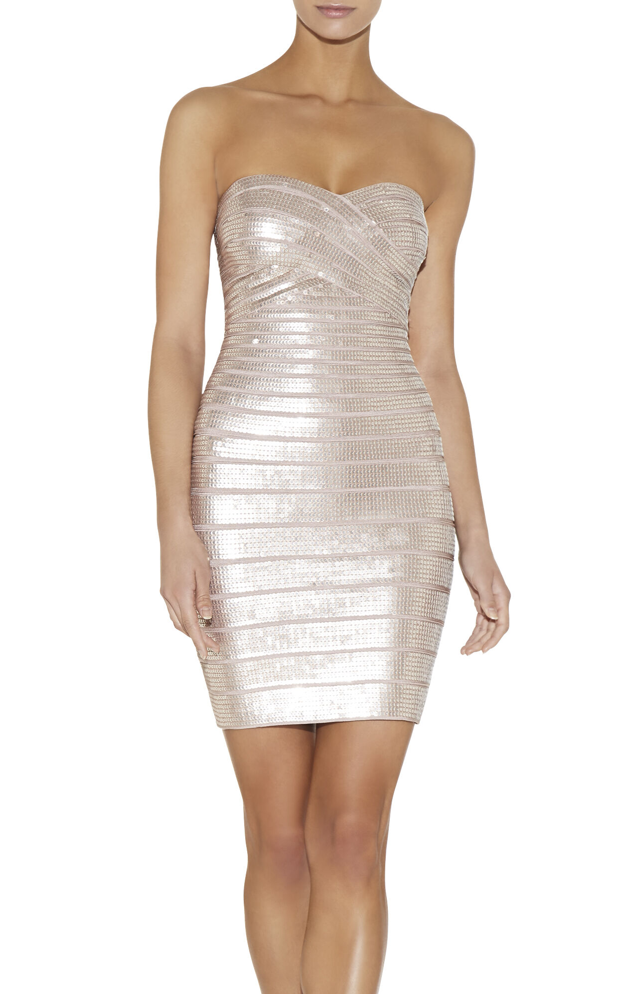 Nazik Stacked Leather Sequined Dress
