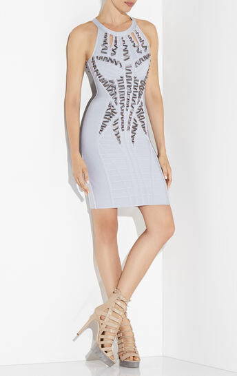 Kyara Beaded Cutout-Back Dress