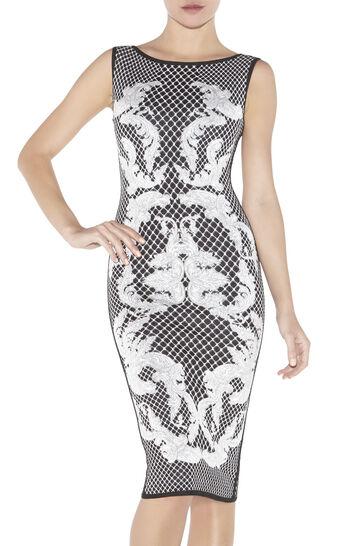 Alexia HL Monogram Crescent Jacquard Dress