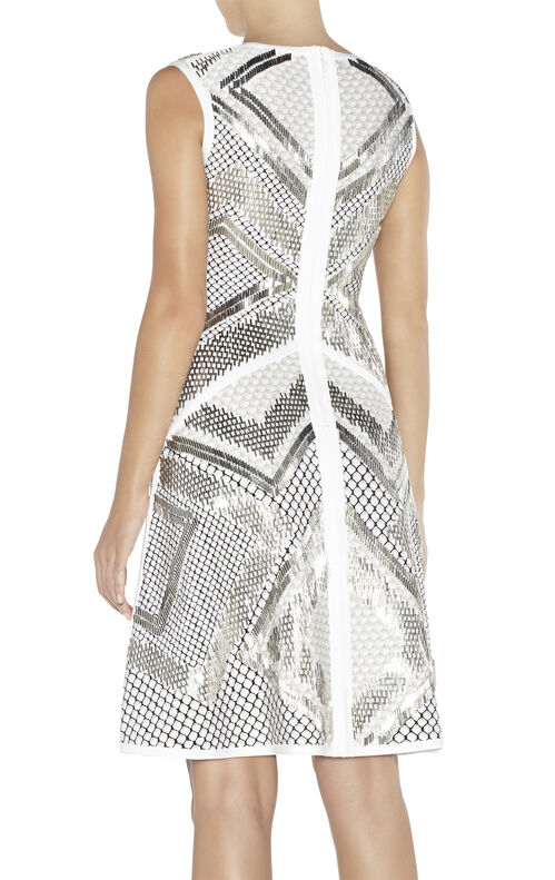 Saira Geometric-Beaded Mesh-Detail Dress