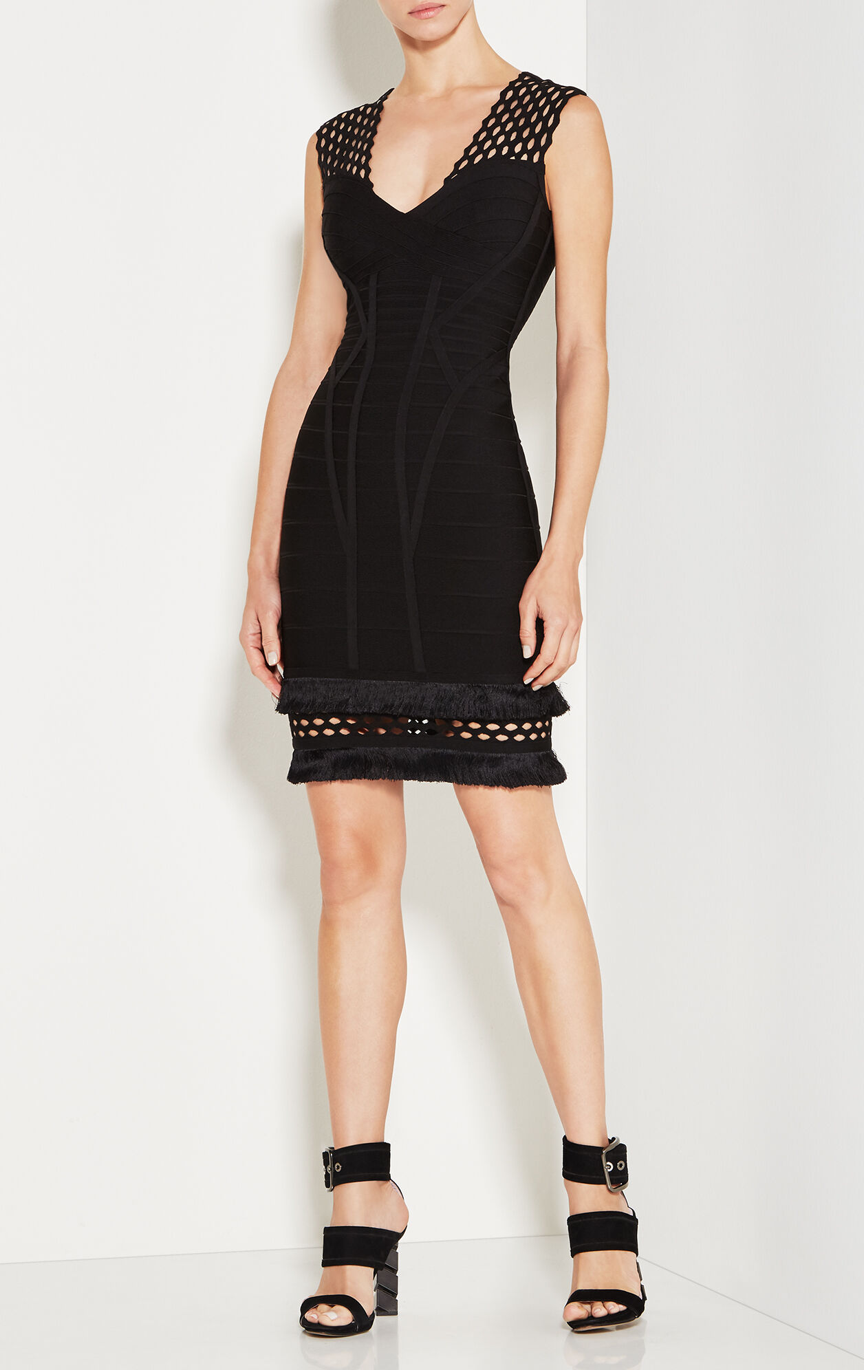 Carrey Cutout Fringe-Trimmed Bandage Dress