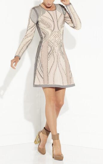 Abelle Multi Embellishment Blocked Mesh Dress