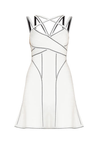 Marta Geometric Jacquard Applique Dress