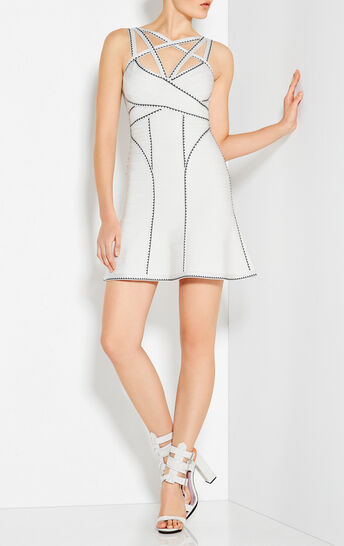 Marta Geometric Jacquard Applique Dress