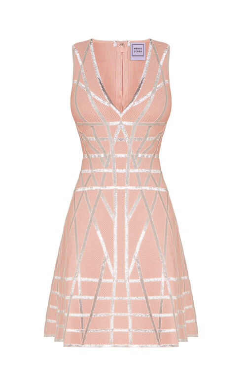Jasmine Metallic Caging Flare Dress