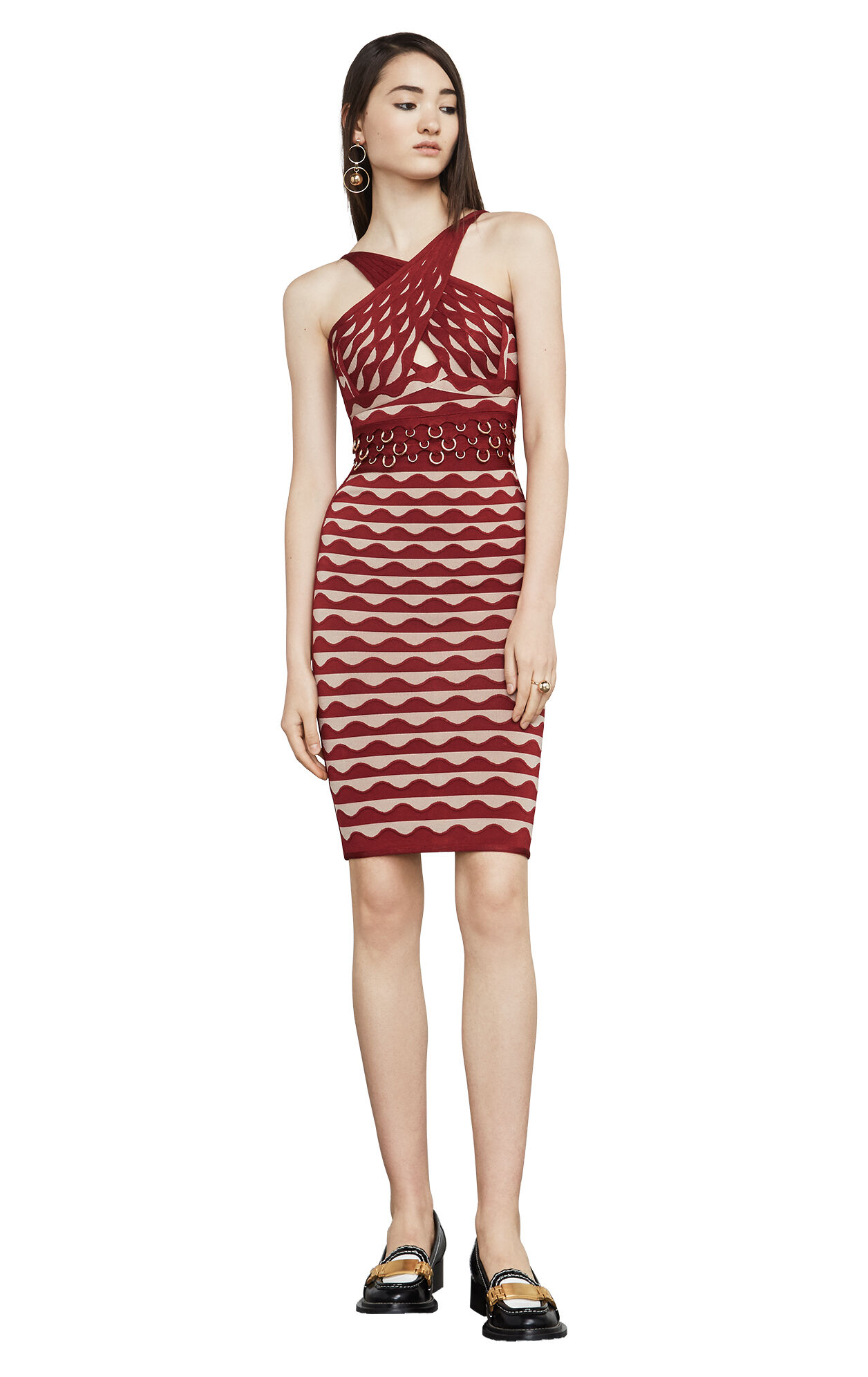 Kenna Pierced Scallop Jacquard Bandage Dress