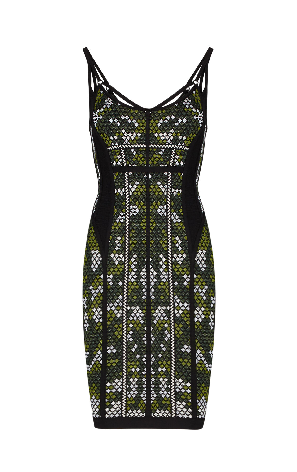 Alessandra Camo Jacquard Zigzag Detail Dress