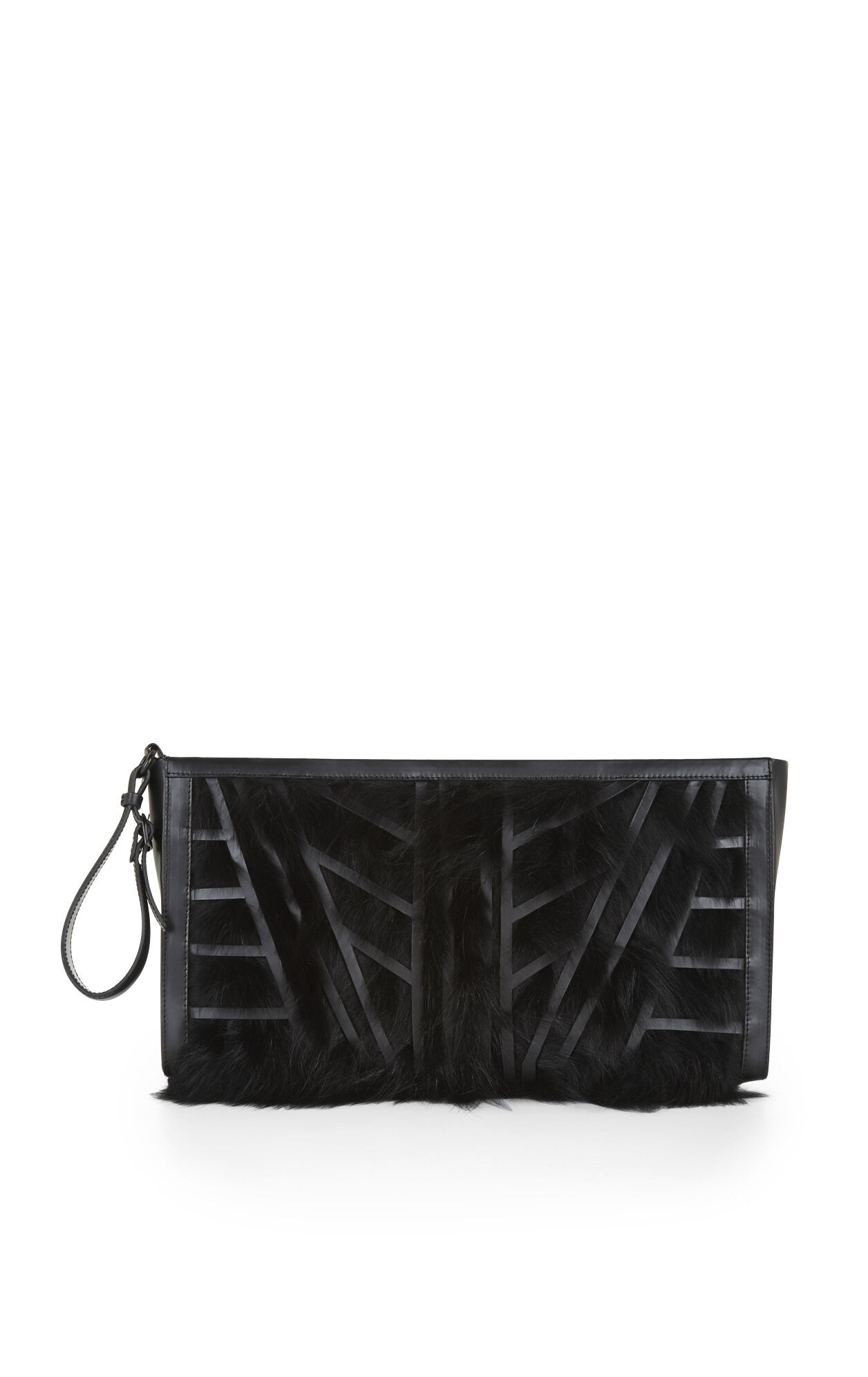 Fox-Fur Patchwork Geometric Oversized Clutch