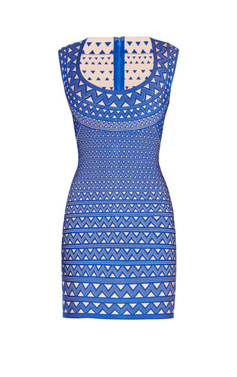Maira Zigzag Plaited Jacquard Dress